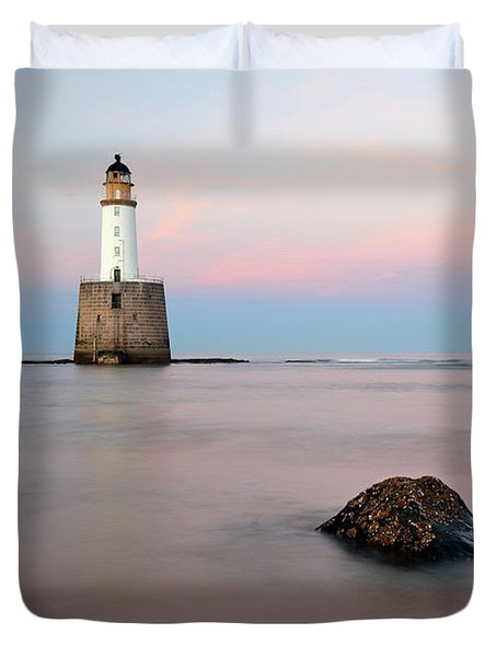 Duvet Cover featuring the photograph Lighthouse Rattray by Grant Glendinning