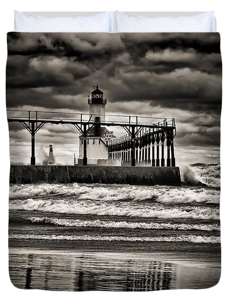 Lighthouse Reflections In Black And White Duvet Cover