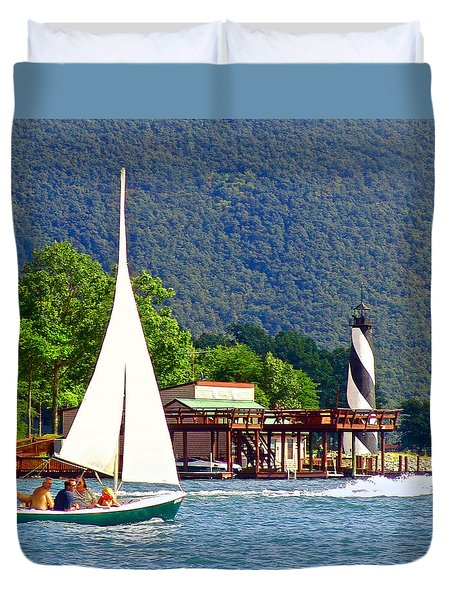Lighthouse Sailors Smith Mountain Lake Duvet Cover by The American Shutterbug Society