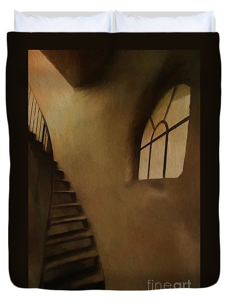Duvet Cover featuring the photograph Lighthouse Stairs by Jim  Hatch