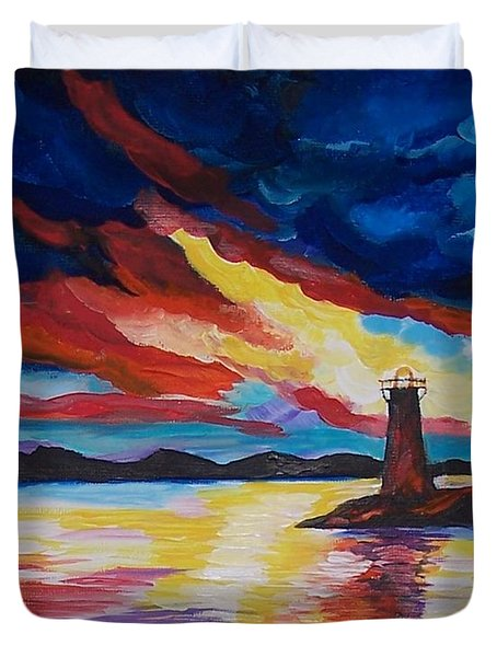 Duvet Cover featuring the painting Lighthouse Storm by Leslie Allen