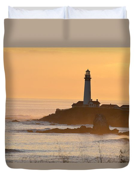 Duvet Cover featuring the photograph Lighthouse Sunset by Alex King
