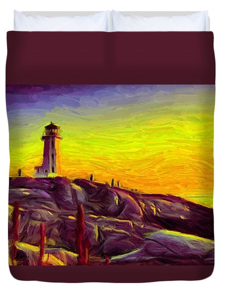 Lighthouse Sunset Duvet Cover