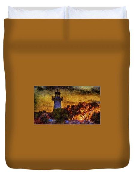 Lighthouse Sunset Duvet Cover