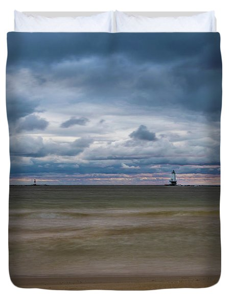 Lighthouse Under Brewing Clouds Duvet Cover