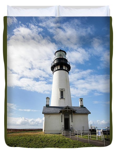 Duvet Cover featuring the photograph Lighthouse View by Mary Jo Allen