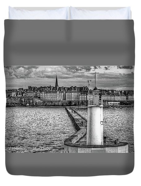 Duvet Cover featuring the photograph Lighthouse Walkway by Elf Evans