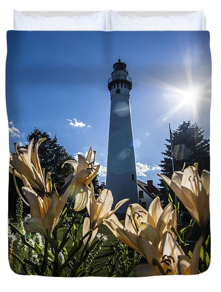 Lighthouse With A Flowery Foreground Duvet Cover