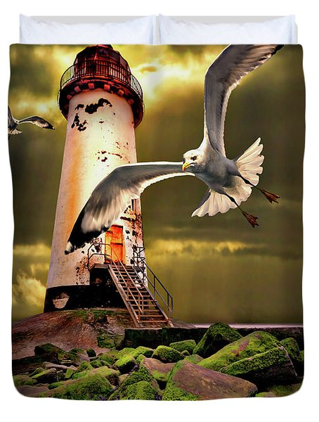 Lighthouse With Seagulls Duvet Cover by Meirion Matthias