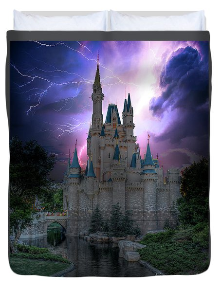 Lighting Over The Castle Duvet Cover