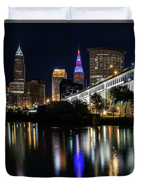 Duvet Cover featuring the photograph Lighting Up Cleveland by Dale Kincaid