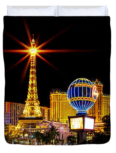 Lighting Up Vegas Duvet Cover by Az Jackson