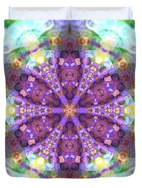 Duvet Cover featuring the digital art Lightmandala 6 Star 2 by Robert Thalmeier