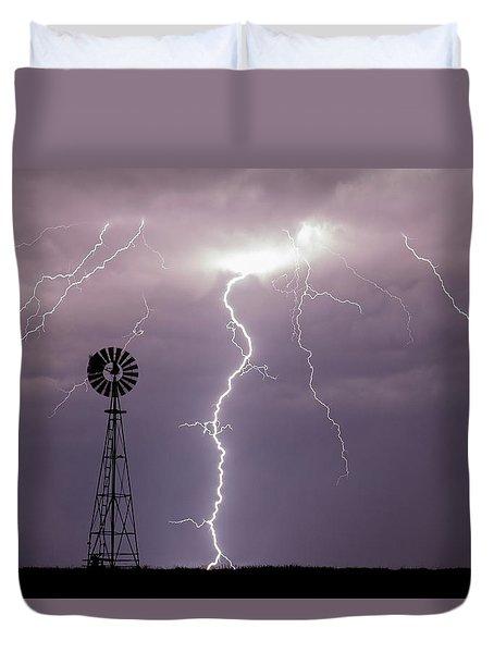 Lightning And Windmill -02 Duvet Cover