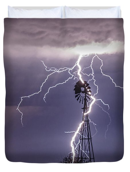 Lightning And Windmill Duvet Cover