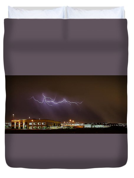 Lightning Bolt Over Suburbs Duvet Cover