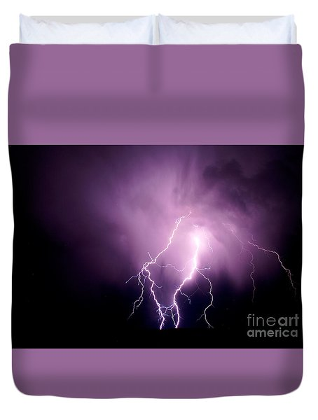 Lightning In The Desert Duvet Cover