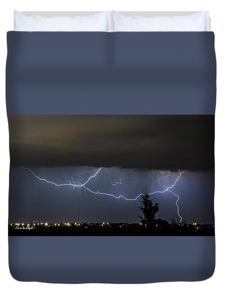 Lightning Over Amarillo Duvet Cover