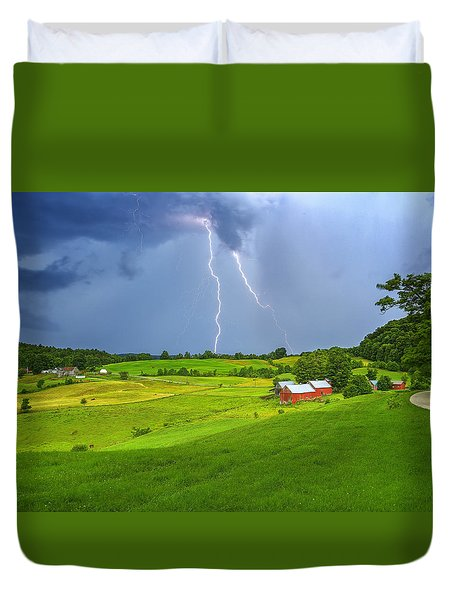 Lightning Storm Over Jenne Farm Duvet Cover