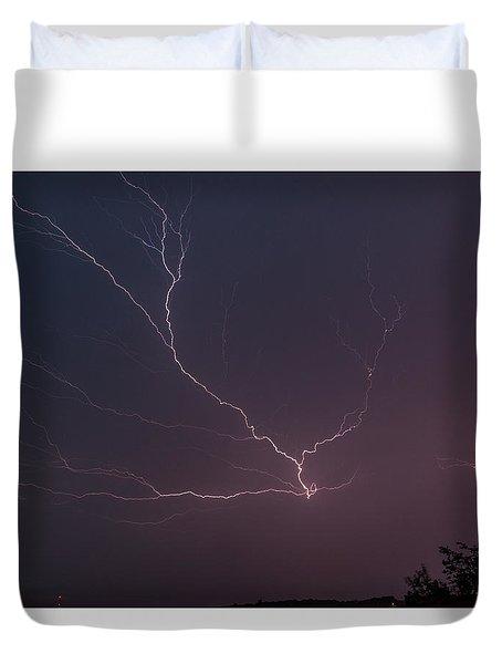 Lightning Over Lake Lanier Duvet Cover
