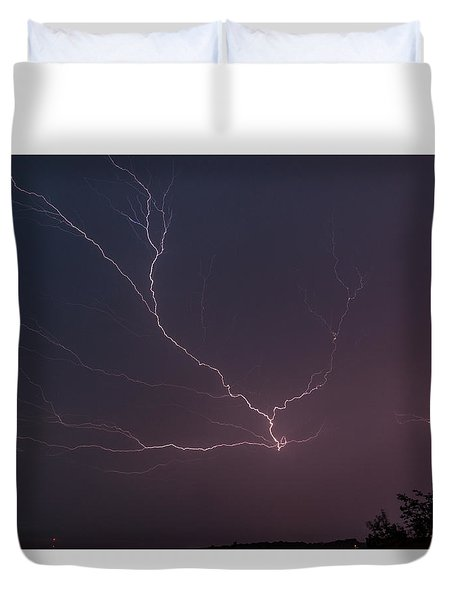 Lightning Over Lake Lanier Duvet Cover