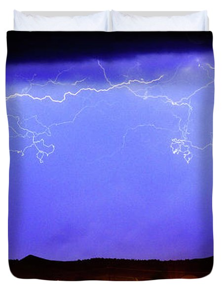 Lightning Over Loveland Colorado Foothills Panorama Duvet Cover by James BO  Insogna