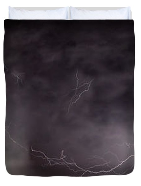 Lightning Over Perris Duvet Cover