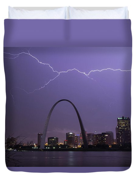 Lightning Over St Louis Duvet Cover