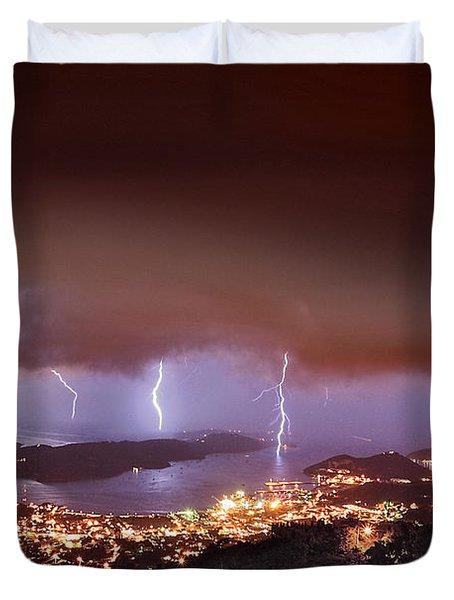 Lightning Over Water Island Duvet Cover