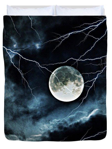 Lightning Sky At Full Moon Duvet Cover