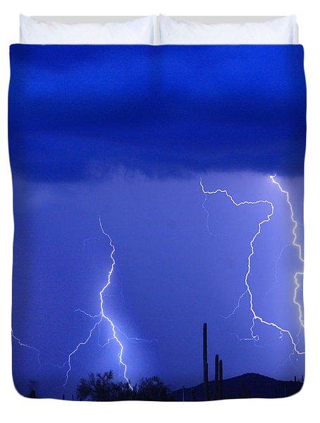 Lightning Storm In The Desert Fine Art Photography Print Duvet Cover