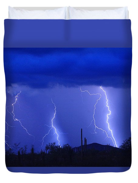 Lightning Storm In The Desert Fine Art Photography Print Duvet Cover
