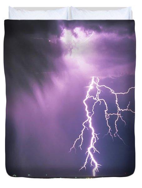 Lightning Storm Duvet Cover by Leland D Howard