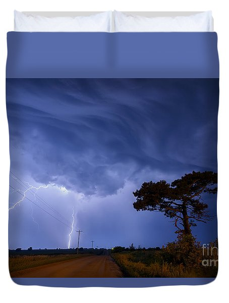 Lightning Storm On A Lonely Country Road Duvet Cover