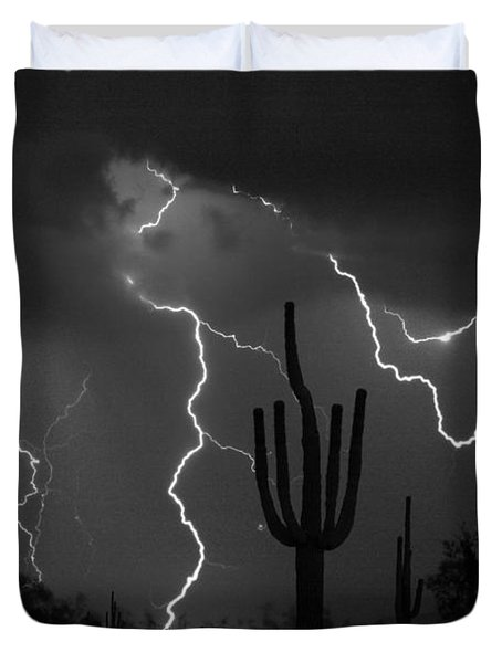 Lightning Storm Saguaro Fine Art Bw Photography Duvet Cover