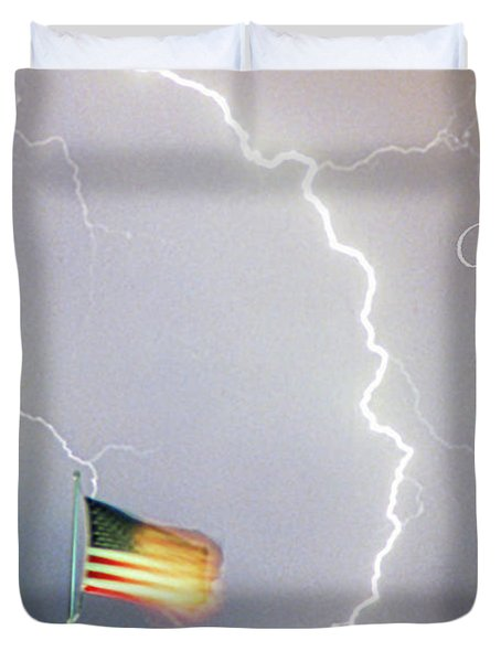 Lightning Strikes God Bless The Usa Duvet Cover by James BO  Insogna