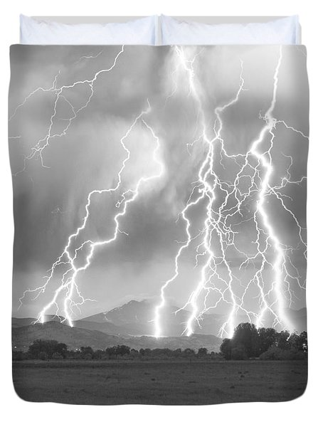 Lightning Striking Longs Peak Foothills 4cbw Duvet Cover
