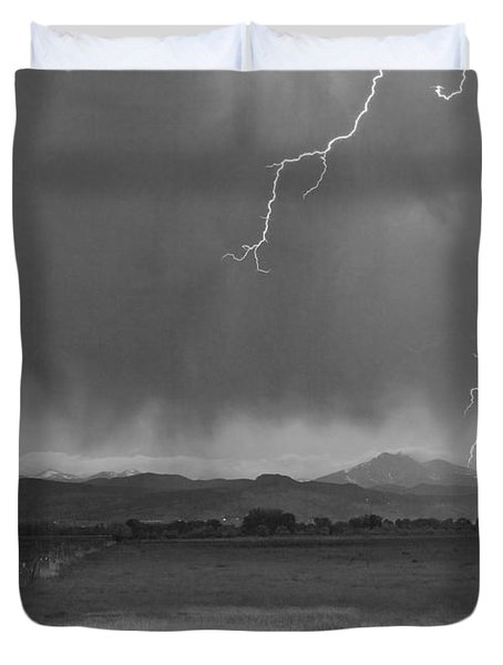 Lightning Striking Longs Peak Foothills 5bw Duvet Cover