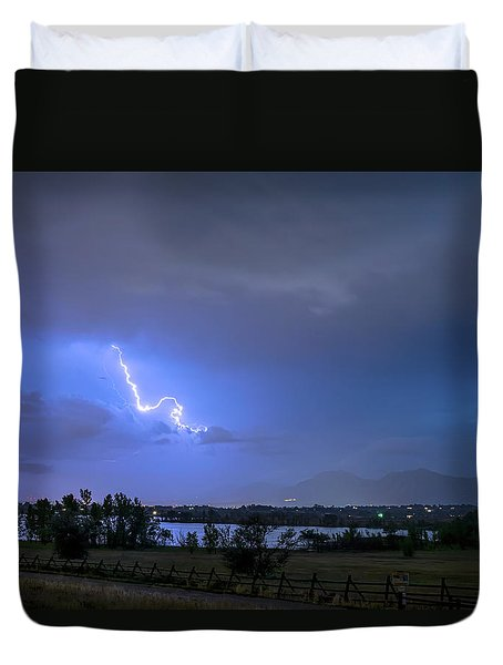 Duvet Cover featuring the photograph Lightning Striking Over Boulder Reservoir by James BO Insogna