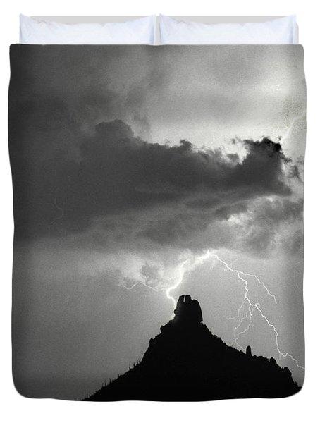 Lightning Striking Pinnacle Peak Arizona Duvet Cover