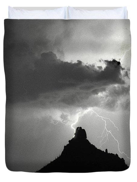 Lightning Striking Pinnacle Peak Arizona Duvet Cover by James BO  Insogna