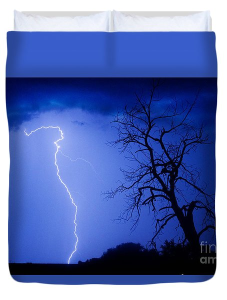 Lightning Tree Silhouette Duvet Cover by James BO  Insogna