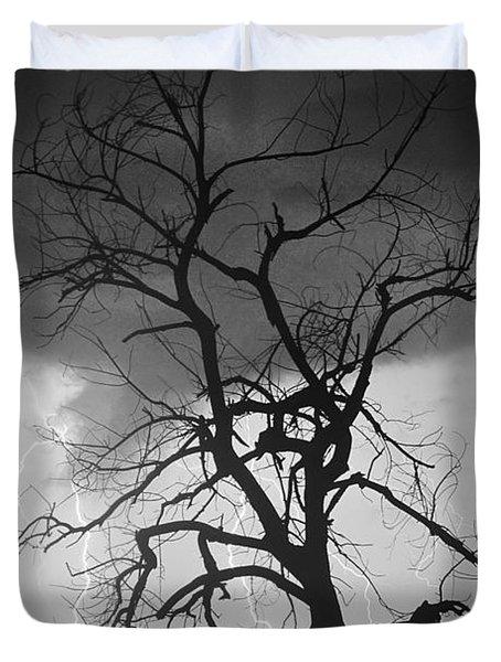 Lightning Tree Silhouette Portrait Bw Duvet Cover