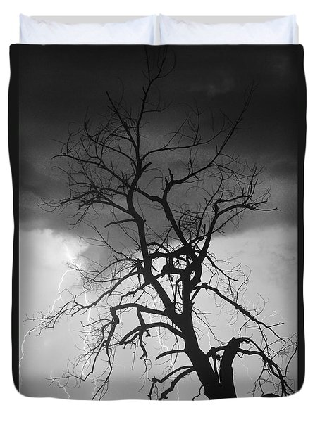 Lightning Tree Silhouette Portrait Bw Duvet Cover