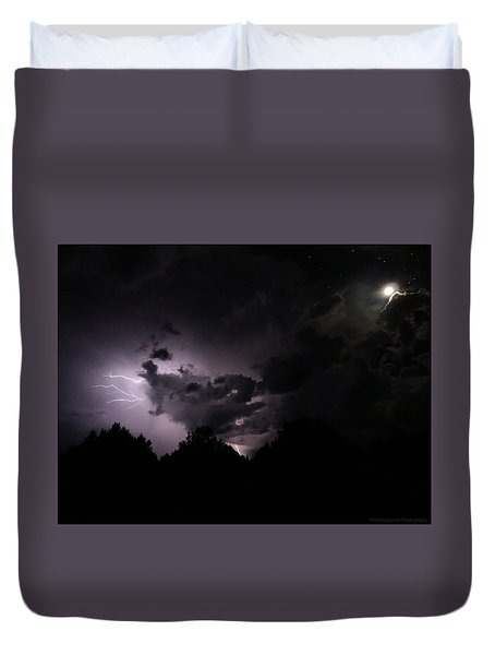 Lightning With Stars And Moon  Duvet Cover by Todd Krasovetz