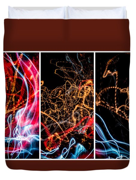 Lightpainting Triptych Wall Art Print Photograph 5 Duvet Cover