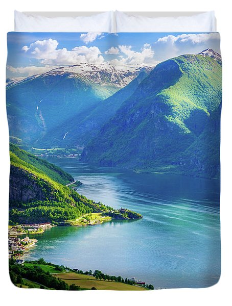 Duvet Cover featuring the photograph Lights And Shadows Of Sognefjord by Dmytro Korol