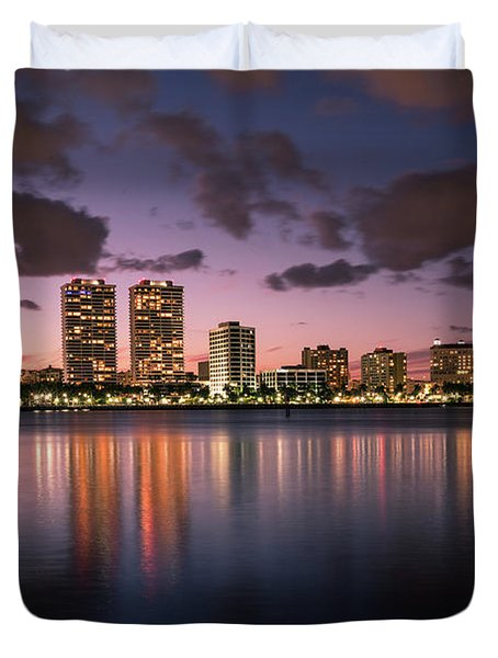 Lights At Night In West Palm Beach Duvet Cover