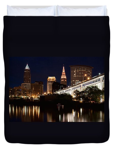 Lights In Cleveland Ohio Duvet Cover