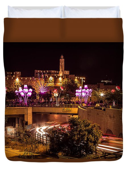Lights In Jerusalem Duvet Cover